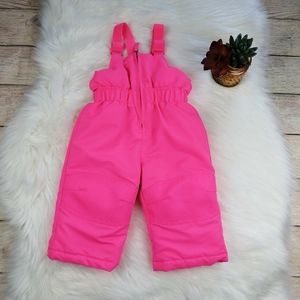 Baby Girl Pink Snow Bibs Size 12 Months